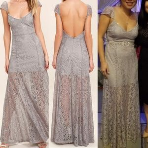 Lulus Evening Dreaming Light Grey Lace Maxi Dress